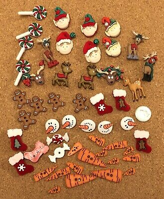 Massive Bag of Christmas Themes Craft Buttons Embellishments for crafting