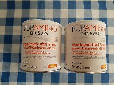 2 Cans Puramino Hypoallergenic Infant Formula 14.1oz EXP April 01/2020