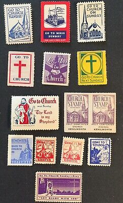 Cinderella Poster Stamps COME TO CHURCH , 14pc RELIGIOUS VINTAGE