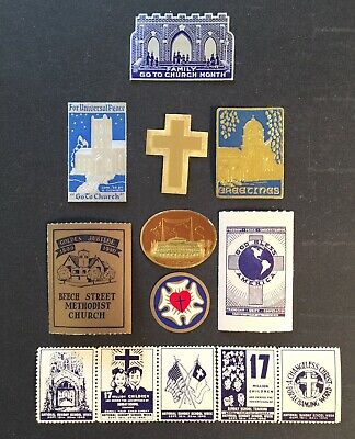 Cinderella Poster Stamps 13pc RELIGIOUS CHURCH STAMPS VINTAGE