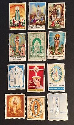 Cinderella Poster Stamps 12pc RELIGIOUS SAINTS Vintage 12pc