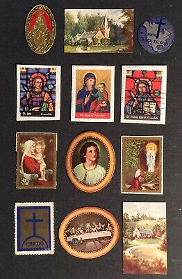 Cinderella Poster Stamps 12pc RELIGIOUS SAINTS + OTHERS VINTAGE 12pc