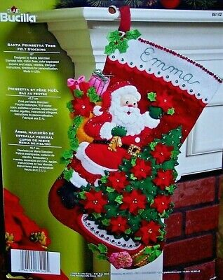 Bucilla SANTA POINSETTIA TREE Felt Christmas Stocking Kit OOP Factory Direct 18""