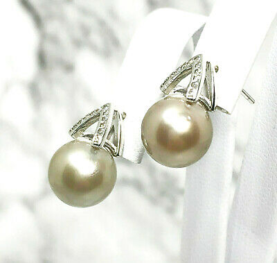 Gorgeous Tahitian South Sea Natural Light Grey 10.3mm Round Pearl Stud Earrings