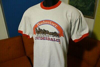 518873c7 Budweiser Clydesdales Vintage Made In USA 80's Ringer Beer Drinking T-Shirt  TEE