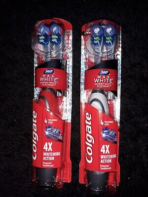 Colgate 360 Max White One Platinum 2 Head Battery Toothbrush X2