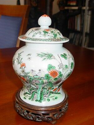 Original China Family Verte Deckelvase ,19e Jahrhundert.