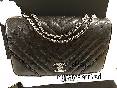 d480ce2cb7e7 NWT CHANEL Statement Flap Bag in Chevron Black Calf Light Gold-Tone Hardware