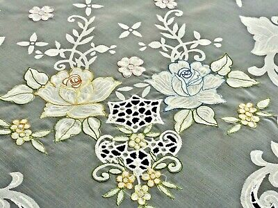 Fabulous Snow White Hand Crafted Organdy Tablecloth Unused
