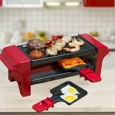 350 Watt Table Grill Party Raclette Casseroles Bois Spatule Antiadhésif Noir