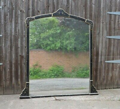 Huge Victorian Mirror Aesthetic Period Ebonised Parcel Gilt Over Mantel Mirror