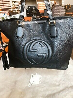 2efc8b9b7ce9c8 Authentic Pre-Owned GUCCI 536194 Soho Hobo Leather Shoulder Bag, Black