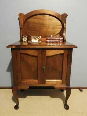 ANTIQUE VINTAGE ART DECO QUEEN ANNE BEDSIDE CABINET HALL LAMP SIDE TABLE 1920s