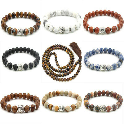 Wholesale Natural Gemstone Round Bead Bracelets Elastic Bangle 8mm Lucky DIY