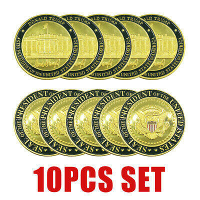 10PCS Donald J Trump 45th President of US White House Commemorate Challenge Coin