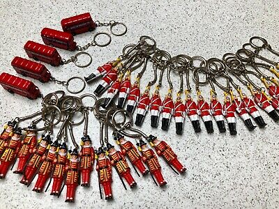 Joblot British Miniature London Key Ring Key chain Souvenir Red Bus Beefeater
