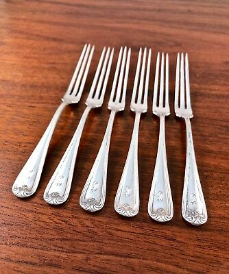 (6) Durgin Co. Sterling Silver Strawberry Forks: New Standish 1905