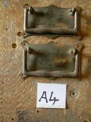 Pair of Florentine Bronze drawer pull handles. Antique reclaimed condition. (A4)