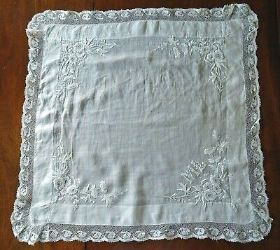 Antique Hand Embroidered Initial ML Large White Lawn Lace Wedding Handkerchief