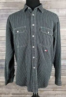Tommy Hilfiger Jeans Mens Vtg Black White Grid Metal Snap Btn L/S Shirt L A007