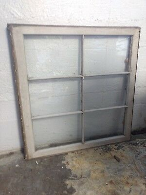 PAIR - 2- VINTAGE SASH ANTIQUE WOOD WINDOWS / PICTURE  6 PANE GLASS (Circa 1920)