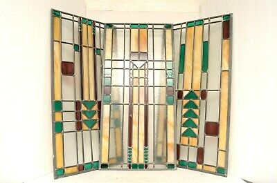 3 Antique Arts Crafts Mission Stained Leaded Glass Windows Panels panes art deco
