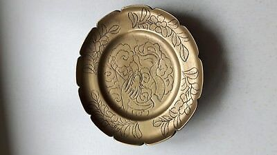 """Vintage Chinese Brass Plate/Wall Plaque Etched Engraved Dragon & Flowers 7"""" Diam"""
