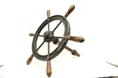 Vintage Antique 20''  6 Spoke Wood and Iron Ship's Wheel boat nautical salvage