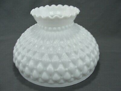 "Vintage Diamond Quilted White Milk Glass GWTW Oil Kerosene Lamp Shade 9 7/8"" Fit"