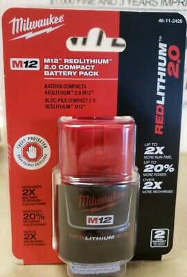 Genuine Milwaukee 48-11-2420 M12 Red Lithium CP2.0 Compact Battery Pack