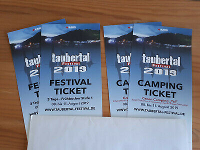 """2 Taubertal Open Air Tickets 2019 - Festival + Camping (Green Camping """"Tal"""")"""