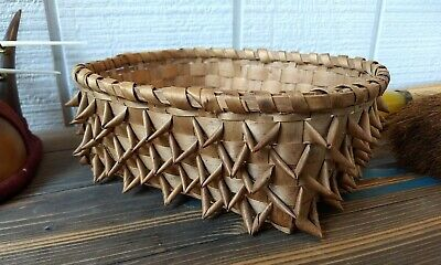 "Vintage Native American Indian Porcupine Weave Basket 8"" x 9"" x 3 1/2"" EC"