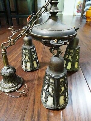 antique SPELTER BRONZE Slag Glass CHANDELIER Art Nouveau ARTS AND CRAFTS