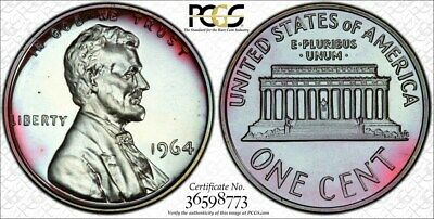 Glowing 1964 PCGS PR67RB Colorful Toned Proof Lincoln Cent w/ TrueView (gs232)