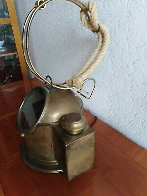 antiker Schiff-KOMPASS - original - Lampe - Messing