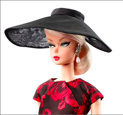 Elegant Rose Cocktail Silkstone Barbie Doll Hat ONLY-Sheer Black Picture