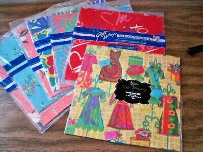 Vintage Gift Wrap Lot 7 Pkgs Folded Heavy Gift Wrap GIBSON CLEO 14 Sheets Total