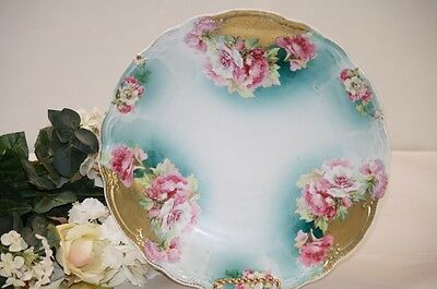 Antique Platter Round Pink White Blooming Peonies Flowers Gold Aqua Accent