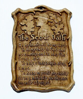 Vintage B.S.A. Boy Scouts Of America Oath Plaque Syroco Wood LQQK!!!