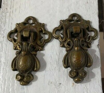 2 Vintage 1920s pair of fabulous antique brass Victorian drawer pulls Ornate
