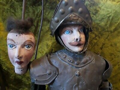 """Rustic 40"""" 1800's French Hand Carved Rod Marionette"""
