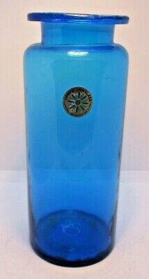 Counterpoint Hand Blown Glass Tall Blue Jar Vintage