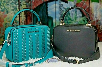 1ce097a457d2f NWT MICHAEL KORS KARLA T/H Camera Crossbody Bag In BLACK or TILE BLUE  Leather