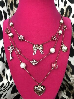Betsey Johnson Vintage Betseyville Gold Bow Pink Crystal Heart Key Necklace RARE