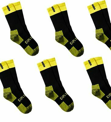 6 PAIRS X EXPLORER TOUGH WORK SOCKS Fluro Yellow Hi Vis Cotton Comfortable Crew
