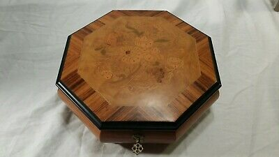 Vintage Octagon Inlaid Wood Music Box Swiss Movement Mapsa Italy Brahmswalzer 9""
