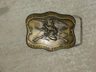 Brass Belt Buckle - Our American Heritage:  The Second Amendment - 1977 - Ex.