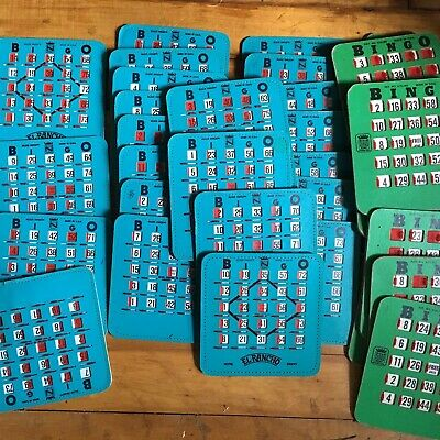 Lot of 51 Vintage Bingo Cards Slide Window Shutter Finger Tip Made in USA.