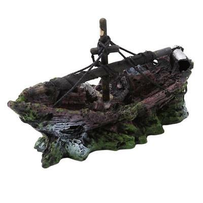 Aquarium Ornament Wreck Sailing Boat Sunk Ship Destroyer Fish Tank Cave Decor W