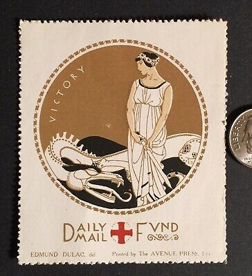 "Cinderella Charity Stamp GB WW1 RED CROSS ""VICTORY"" DAILY MAIL FUND VINTAGE"